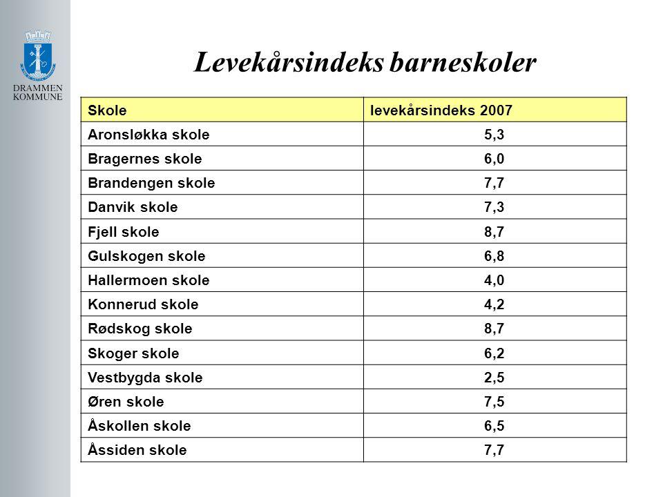 Levekårsindeks barneskoler Skolelevekårsindeks 2007 Aronsløkka skole5,3 Bragernes skole6,0 Brandengen skole7,7 Danvik skole7,3 Fjell skole8,7 Gulskoge