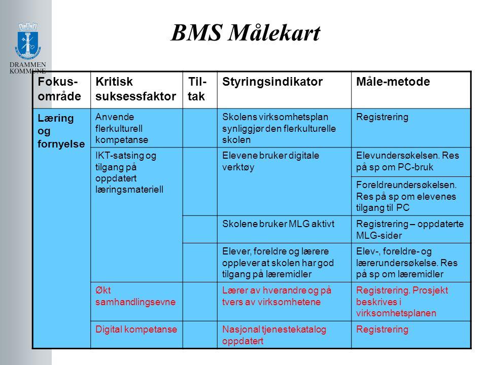 BMS Målekart Fokus- område Kritisk suksessfaktor Til- tak StyringsindikatorMåle-metode Læring og fornyelse Anvende flerkulturell kompetanse Skolens vi