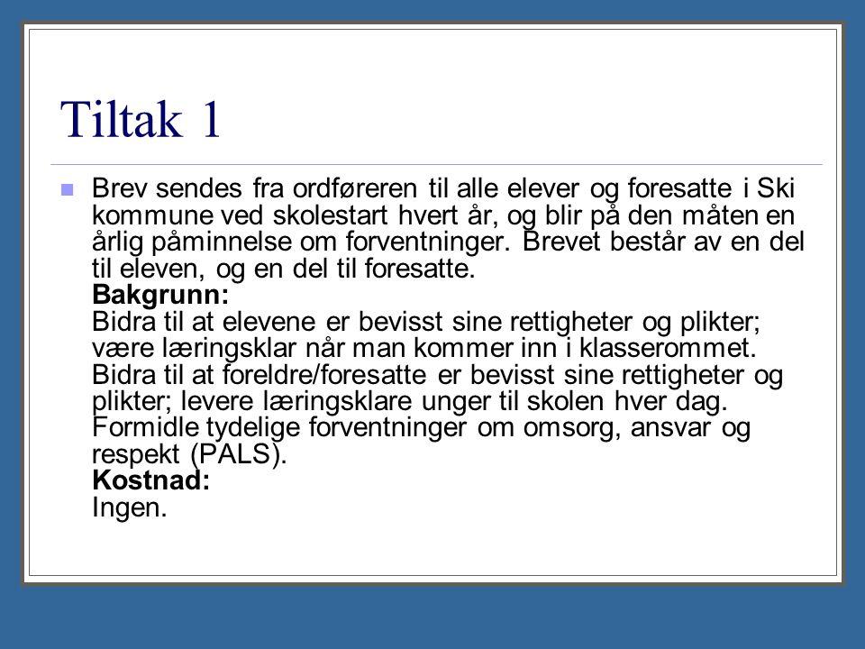 Tiltak 1 Brev sendes fra ordføreren til alle elever og foresatte i Ski kommune ved skolestart hvert år, og blir på den måten en årlig påminnelse om forventninger.