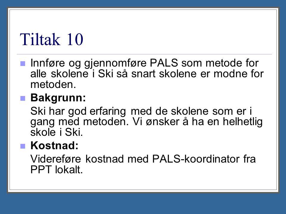 Tiltak 10 Innføre og gjennomføre PALS som metode for alle skolene i Ski så snart skolene er modne for metoden. Bakgrunn: Ski har god erfaring med de s