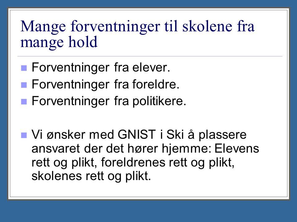 Arbeidsmåte: Våren 2011: Representant fra skoleadministrasjonen og utdanningsforbundet i Ski arbeider fram forslag til tiltak.