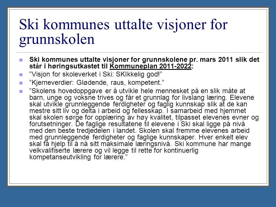 Ski kommunes uttalte visjoner for grunnskolen Ski kommunes uttalte visjoner for grunnskolene pr.