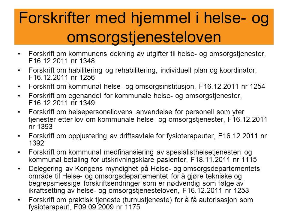 Forskrift om kommunens dekning av utgifter til helse- og omsorgstjenester Forskrift om kommunens dekning av utgifter til helse- og omsorgstjenester, F16.12.2011 nr 1348 Trådte i kraft 1.1.2012 Inneholder følgende bestemmelser: § 1 – Hovedregel § 2 – Refusjon fra andre kommuner § 3 – Fastsetting av tjenestetilbud § 4 – Refusjonens størrelse § 5 – Avtale mellom kommuner § 6 – Egenandel
