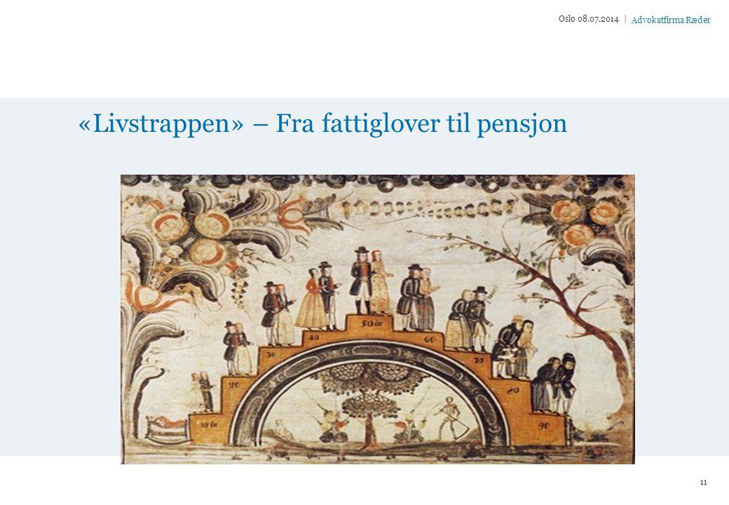 Advokatfirma Ræder «Livstrappen» – Fra fattiglover til pensjon Oslo 08.07.2014 | 11