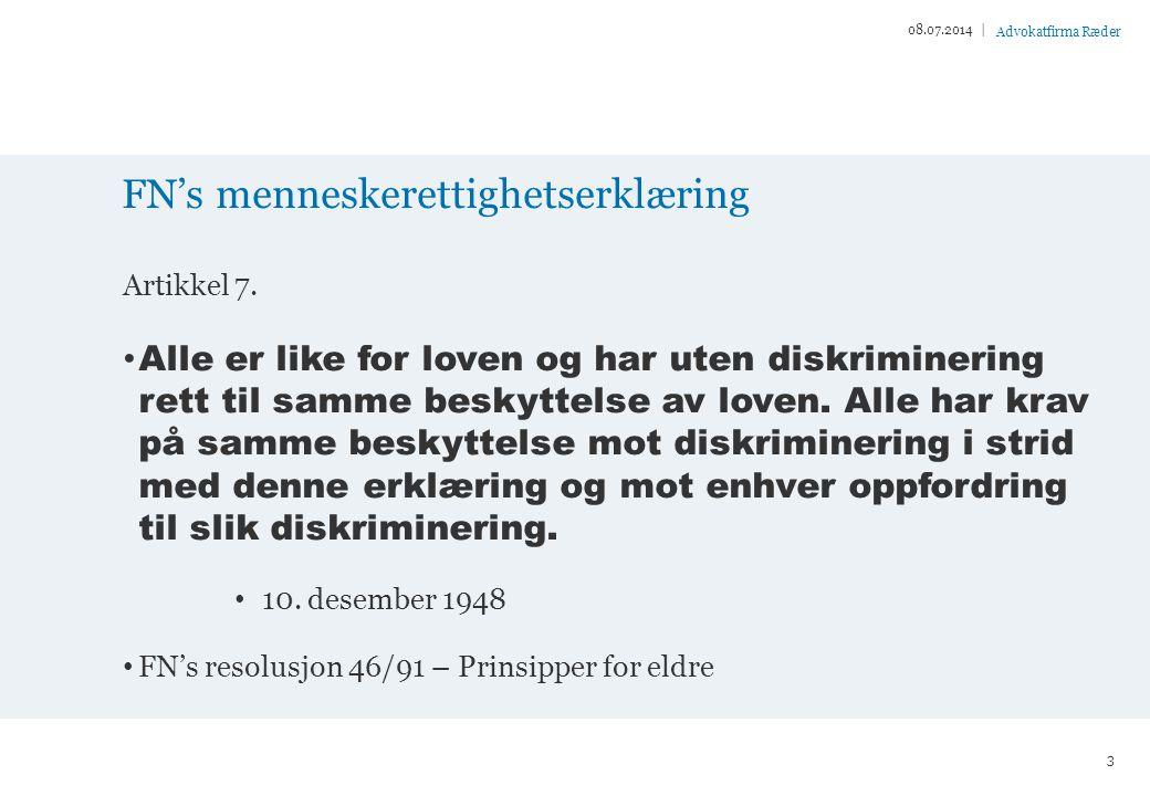 Advokatfirma Ræder FN's menneskerettighetserklæring Artikkel 7.