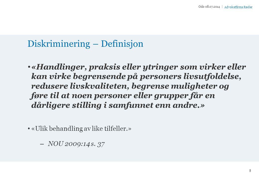 Advokatfirma Ræder Utenfor arbeidslivet NOU 2009:14 Tilleggsprotokoll nr.