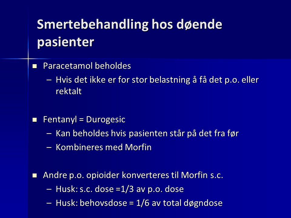 Smertebehandling hos døende pasienter Paracetamol beholdes Paracetamol beholdes –Hvis det ikke er for stor belastning å få det p.o. eller rektalt Fent