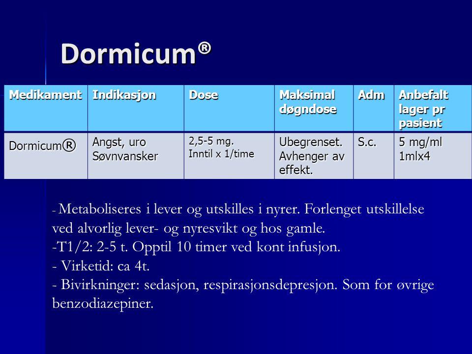Dormicum® MedikamentIndikasjonDose Maksimal døgndose Adm Anbefalt lager pr pasient Dormicum ® Angst, uro Søvnvansker 2,5-5 mg. Inntil x 1/time Ubegren