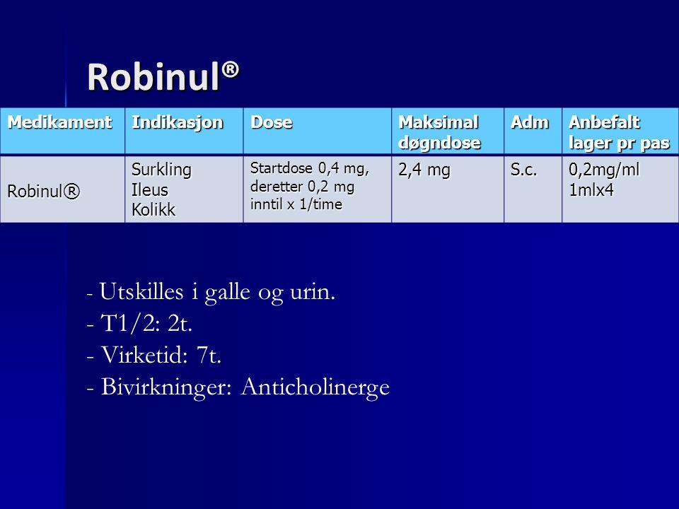 Robinul® MedikamentIndikasjonDose Maksimal døgndose AdmAnbefalt lager pr pas Robinul ® SurklingIleusKolikk Startdose 0,4 mg, deretter 0,2 mg inntil x