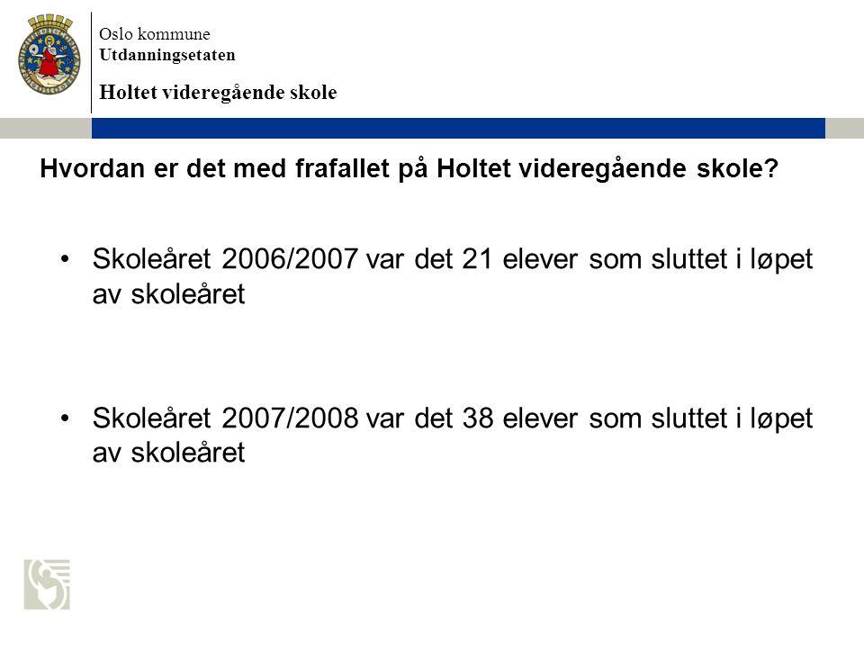 Oslo kommune Utdanningsetaten Holtet videregående skole Hvordan er det med frafallet på Holtet videregående skole.