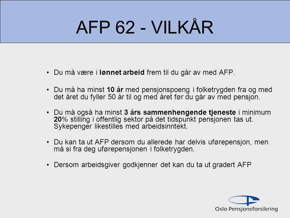 AFP 62 - VILKÅR Du må være i lønnet arbeid frem til du går av med AFP. Du må ha minst 10 år med pensjonspoeng i folketrygden fra og med det året du fy