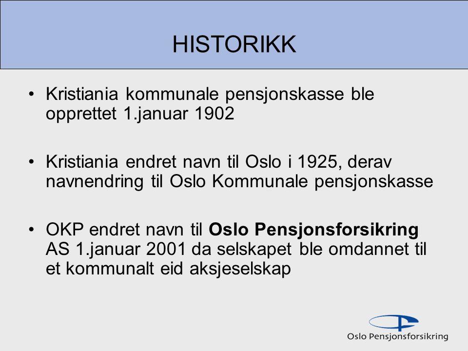 HISTORIKK Kristiania kommunale pensjonskasse ble opprettet 1.januar 1902 Kristiania endret navn til Oslo i 1925, derav navnendring til Oslo Kommunale pensjonskasse OKP endret navn til Oslo Pensjonsforsikring AS 1.januar 2001 da selskapet ble omdannet til et kommunalt eid aksjeselskap