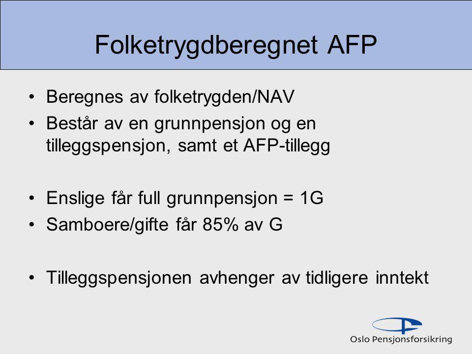 Folketrygdberegnet AFP Beregnes av folketrygden/NAV Består av en grunnpensjon og en tilleggspensjon, samt et AFP-tillegg Enslige får full grunnpensjon