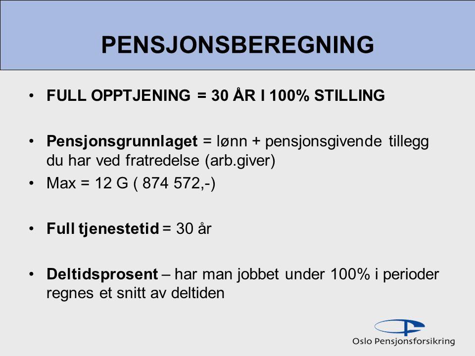 PENSJONSBEREGNING FULL OPPTJENING = 30 ÅR I 100% STILLING Pensjonsgrunnlaget = lønn + pensjonsgivende tillegg du har ved fratredelse (arb.giver) Max = 12 G ( 874 572,-) Full tjenestetid = 30 år Deltidsprosent – har man jobbet under 100% i perioder regnes et snitt av deltiden