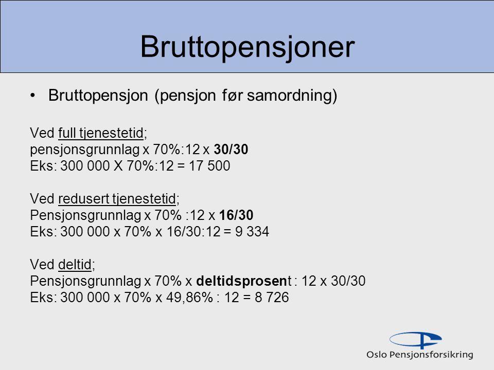 Bruttopensjoner Bruttopensjon (pensjon før samordning) Ved full tjenestetid; pensjonsgrunnlag x 70%:12 x 30/30 Eks: 300 000 X 70%:12 = 17 500 Ved redusert tjenestetid; Pensjonsgrunnlag x 70% :12 x 16/30 Eks: 300 000 x 70% x 16/30:12 = 9 334 Ved deltid; Pensjonsgrunnlag x 70% x deltidsprosent : 12 x 30/30 Eks: 300 000 x 70% x 49,86% : 12 = 8 726