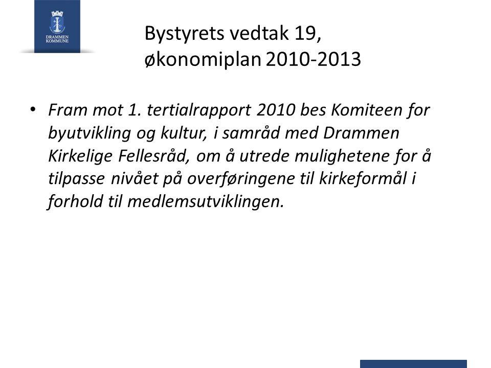 Bystyrets vedtak 19, økonomiplan 2010-2013 Fram mot 1. tertialrapport 2010 bes Komiteen for byutvikling og kultur, i samråd med Drammen Kirkelige Fell