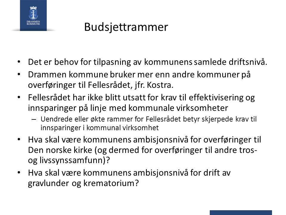 Budsjettrammer Det er behov for tilpasning av kommunens samlede driftsnivå. Drammen kommune bruker mer enn andre kommuner på overføringer til Fellesrå