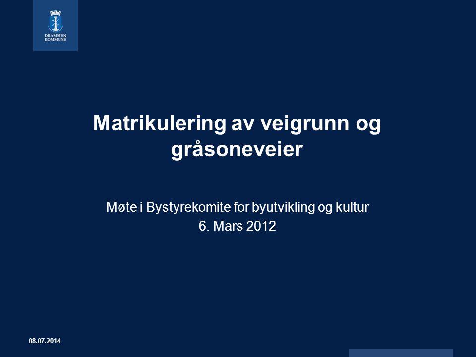 Matrikulering av veigrunn og gråsoneveier Møte i Bystyrekomite for byutvikling og kultur 6. Mars 2012 08.07.2014