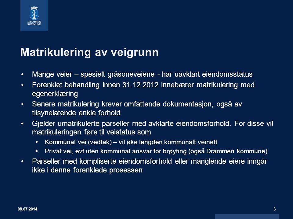 Matrikulering av veigrunn Mange veier – spesielt gråsoneveiene - har uavklart eiendomsstatus Forenklet behandling innen 31.12.2012 innebærer matrikule