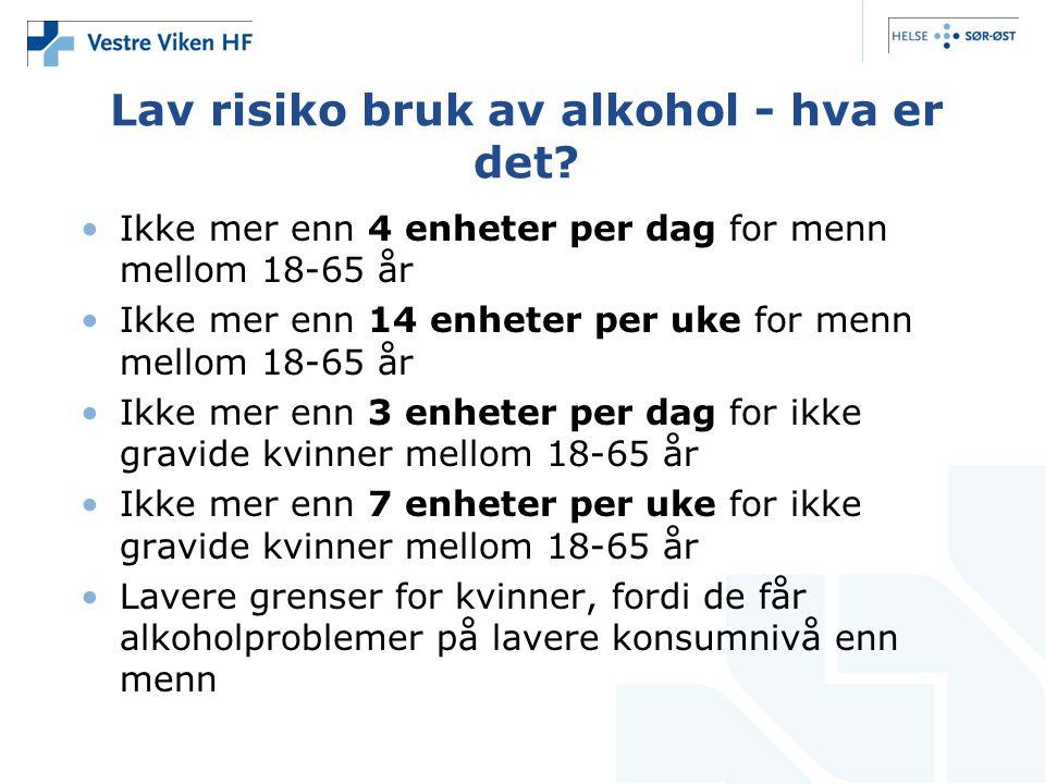 Lav risiko bruk av alkohol - hva er det? Ikke mer enn 4 enheter per dag for menn mellom 18-65 år Ikke mer enn 14 enheter per uke for menn mellom 18-65