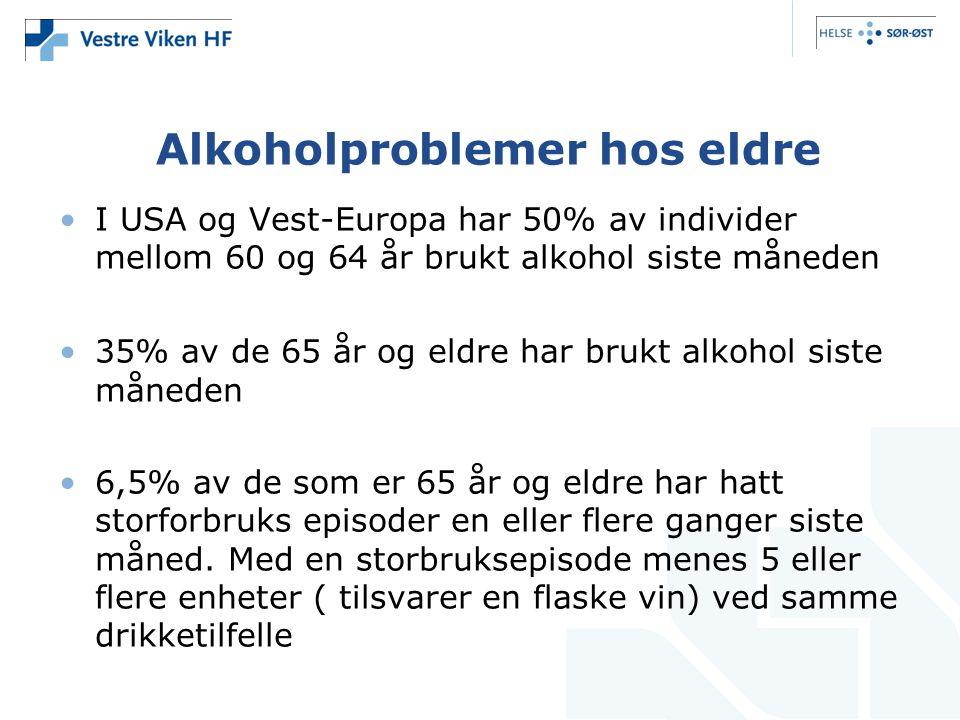 Alkoholproblemer hos eldre I USA og Vest-Europa har 50% av individer mellom 60 og 64 år brukt alkohol siste måneden 35% av de 65 år og eldre har brukt alkohol siste måneden 6,5% av de som er 65 år og eldre har hatt storforbruks episoder en eller flere ganger siste måned.