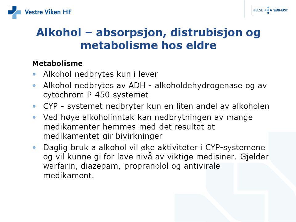 Alkohol – absorpsjon, distrubisjon og metabolisme hos eldre Metabolisme Alkohol nedbrytes kun i lever Alkohol nedbrytes av ADH - alkoholdehydrogenase og av cytochrom P-450 systemet CYP - systemet nedbryter kun en liten andel av alkoholen Ved høye alkoholinntak kan nedbrytningen av mange medikamenter hemmes med det resultat at medikamentet gir bivirkninger Daglig bruk a alkohol vil øke aktiviteter i CYP-systemene og vil kunne gi for lave nivå av viktige medisiner.