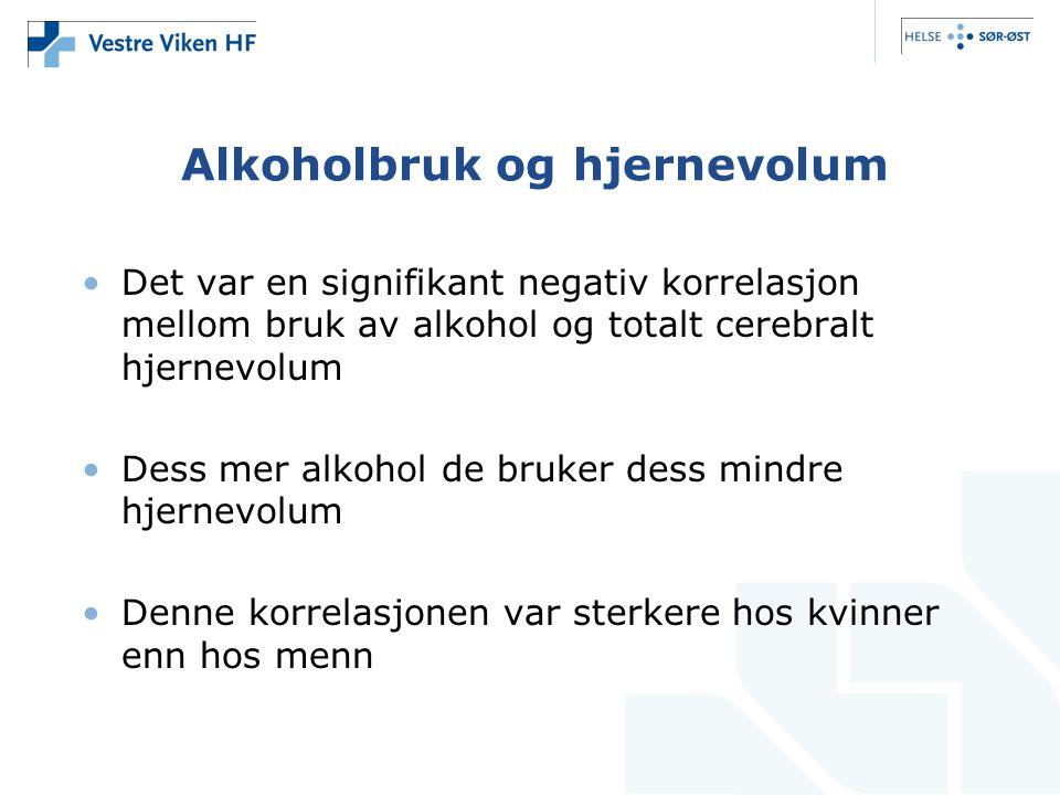 Alkoholbruk og hjernevolum Det var en signifikant negativ korrelasjon mellom bruk av alkohol og totalt cerebralt hjernevolum Dess mer alkohol de bruker dess mindre hjernevolum Denne korrelasjonen var sterkere hos kvinner enn hos menn