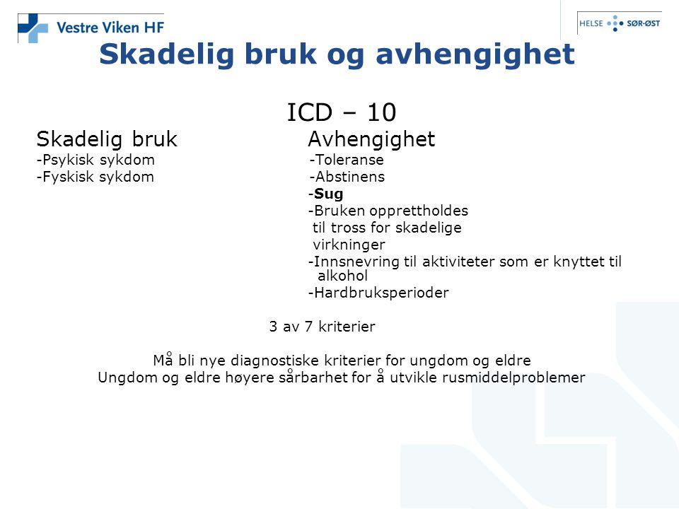 Skadelig bruk og avhengighet ICD – 10 Skadelig brukAvhengighet -Psykisk sykdom -Toleranse -Fyskisk sykdom -Abstinens -Sug -Bruken opprettholdes til tr