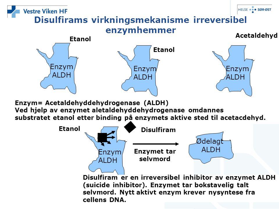 Disulfirams virkningsmekanisme irreversibel enzymhemmer Enzym= Acetaldehyddehydrogenase (ALDH) Ved hjelp av enzymet aletaldehyddehydrogenase omdannes substratet etanol etter binding på enzymets aktive sted til acetacdehyd.