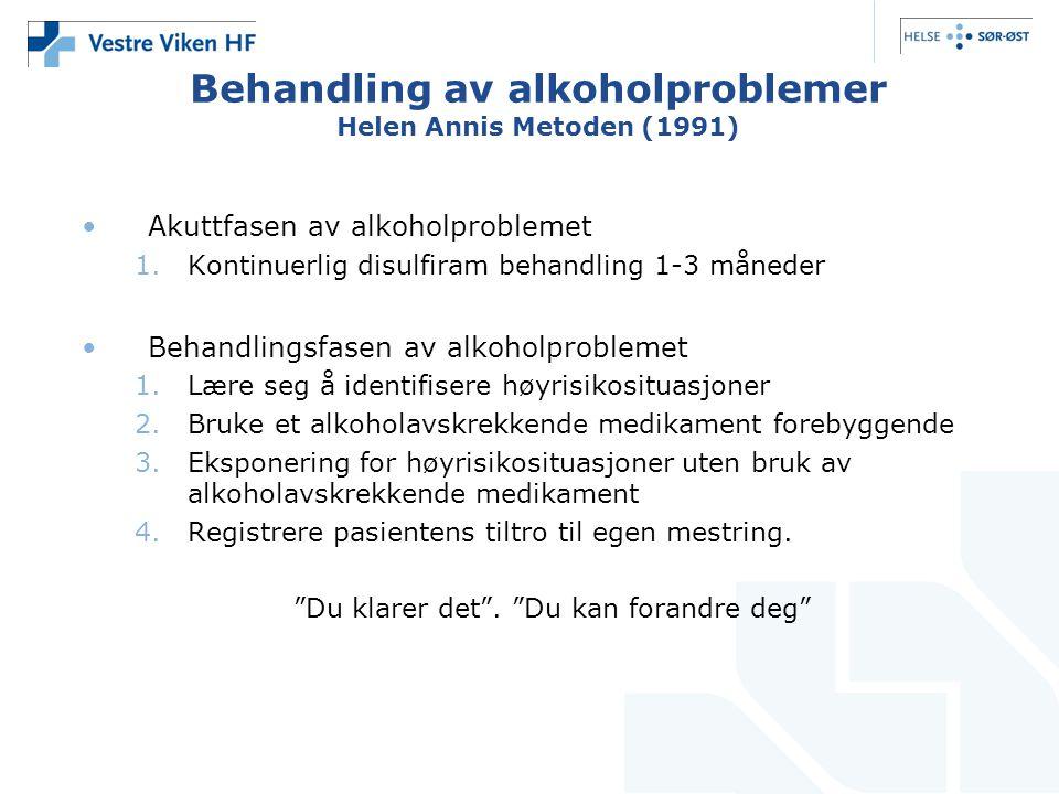 Behandling av alkoholproblemer Helen Annis Metoden (1991) Akuttfasen av alkoholproblemet 1.Kontinuerlig disulfiram behandling 1-3 måneder Behandlingsfasen av alkoholproblemet 1.Lære seg å identifisere høyrisikosituasjoner 2.Bruke et alkoholavskrekkende medikament forebyggende 3.Eksponering for høyrisikosituasjoner uten bruk av alkoholavskrekkende medikament 4.Registrere pasientens tiltro til egen mestring.