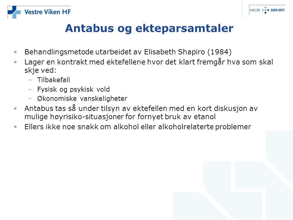 Antabus og ekteparsamtaler Behandlingsmetode utarbeidet av Elisabeth Shapiro (1984) Lager en kontrakt med ektefellene hvor det klart fremgår hva som s