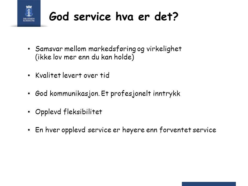 God service hva er det? Samsvar mellom markedsføring og virkelighet (ikke lov mer enn du kan holde) Kvalitet levert over tid God kommunikasjon. Et pro