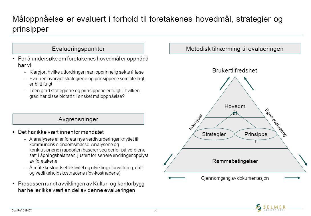 Doc.Ref: 339057 6 Måloppnåelse er evaluert i forhold til foretakenes hovedmål, strategier og prinsipper  For å undersøke om foretakenes hovedmål er o