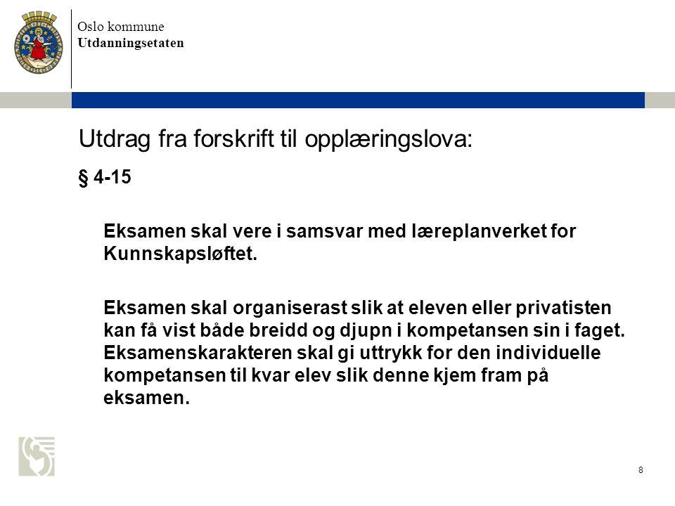 Oslo kommune Utdanningsetaten 8 Utdrag fra forskrift til opplæringslova: § 4-15 Eksamen skal vere i samsvar med læreplanverket for Kunnskapsløftet.