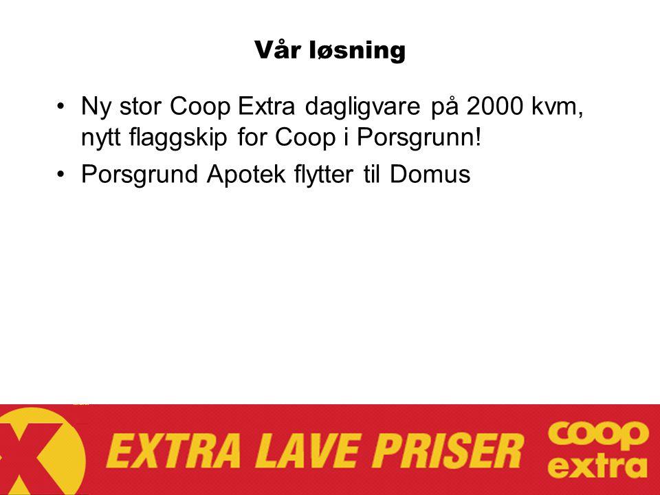 Vår løsning Ny stor Coop Extra dagligvare på 2000 kvm, nytt flaggskip for Coop i Porsgrunn! Porsgrund Apotek flytter til Domus