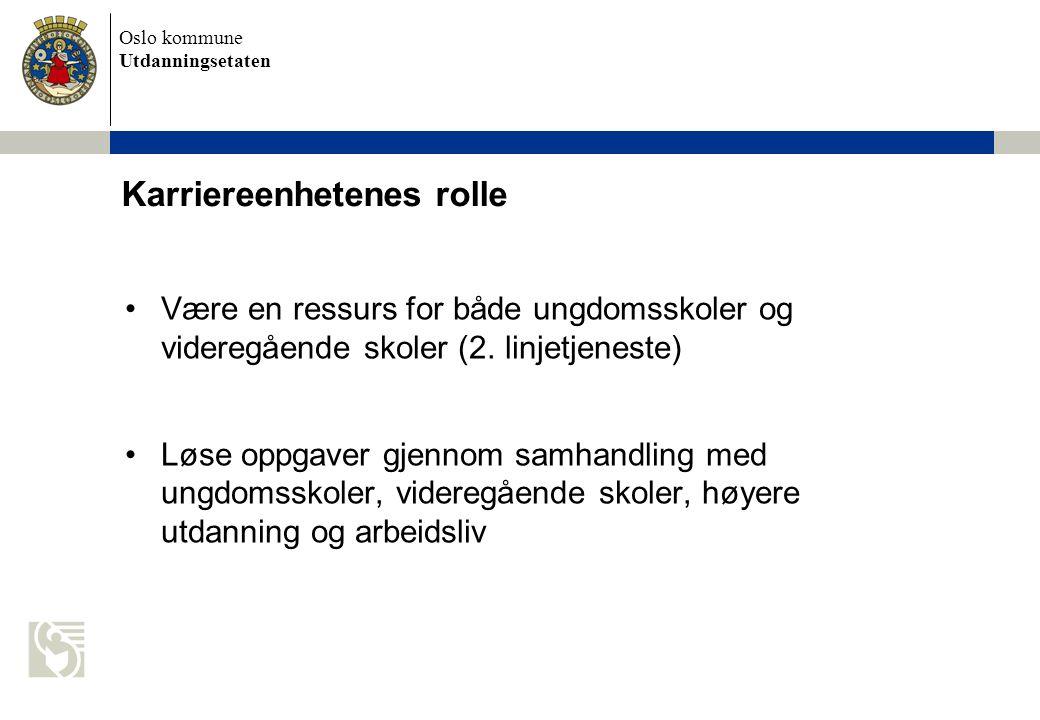 Oslo kommune Utdanningsetaten Være en ressurs for både ungdomsskoler og videregående skoler (2.