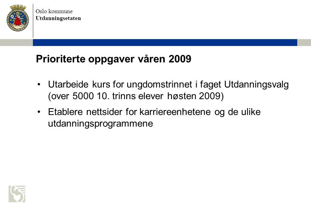 Oslo kommune Utdanningsetaten Prioriterte oppgaver våren 2009 Utarbeide kurs for ungdomstrinnet i faget Utdanningsvalg (over 5000 10.