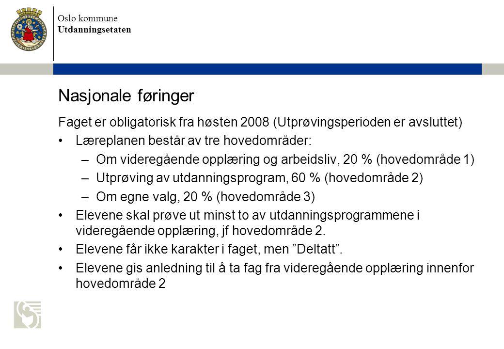 Oslo kommune Utdanningsetaten Nasjonale føringer Faget er obligatorisk fra høsten 2008 (Utprøvingsperioden er avsluttet) Læreplanen består av tre hovedområder: –Om videregående opplæring og arbeidsliv, 20 % (hovedområde 1) –Utprøving av utdanningsprogram, 60 % (hovedområde 2) –Om egne valg, 20 % (hovedområde 3) Elevene skal prøve ut minst to av utdanningsprogrammene i videregående opplæring, jf hovedområde 2.