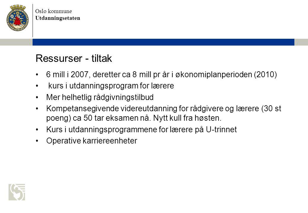Oslo kommune Utdanningsetaten Ressurser - tiltak 6 mill i 2007, deretter ca 8 mill pr år i økonomiplanperioden (2010) kurs i utdanningsprogram for lærere Mer helhetlig rådgivningstilbud Kompetansegivende videreutdanning for rådgivere og lærere (30 st poeng) ca 50 tar eksamen nå.