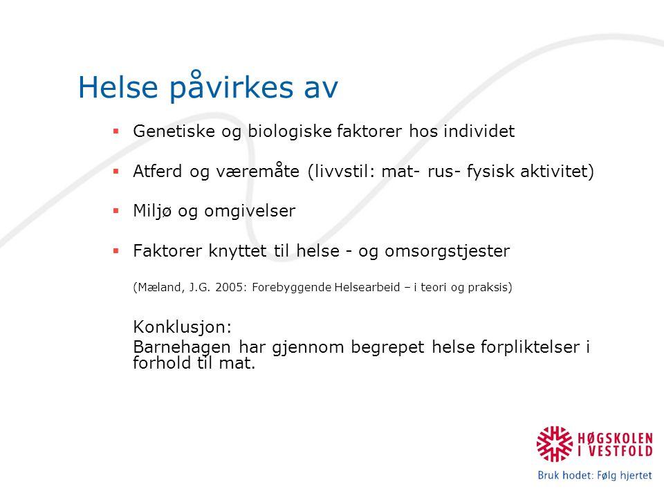 Føringer for helsearbeid i barnehagen (Rammeplan 2006) … inkludere både en helsefremmende og en forebyggende funksjon.