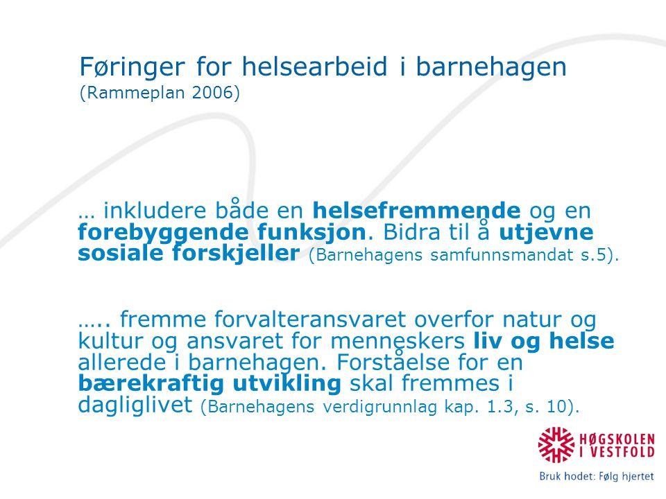 Utfordringer med mat i barnehagen Kongstein, C (1998): Kosthold og mataktiviteter som pedagogisk virkemiddel i de kommunale barnehagene i Vestfold fylke, : Tid Økonomi Personell Utstyr Lassen, K (2004): Mat og matlaging i barnehager.