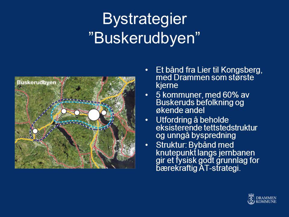 """Bystrategier """"Buskerudbyen"""" Et bånd fra Lier til Kongsberg, med Drammen som største kjerne 5 kommuner, med 60% av Buskeruds befolkning og økende andel"""