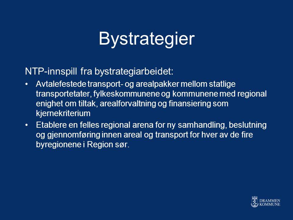 Bystrategier NTP-innspill fra bystrategiarbeidet: Avtalefestede transport- og arealpakker mellom statlige transportetater, fylkeskommunene og kommunen
