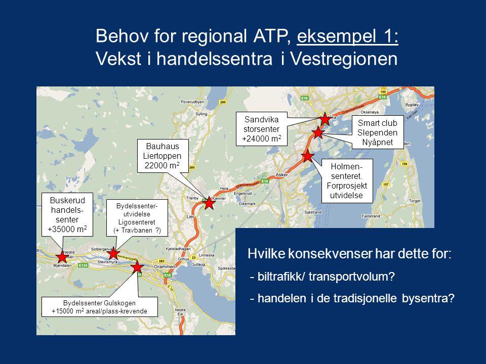 Behov for regional ATP, eksempel 1: Vekst i handelssentra i Vestregionen Sandvika storsenter +24000 m 2 Bauhaus Liertoppen 22000 m 2 Bydelssenter Guls