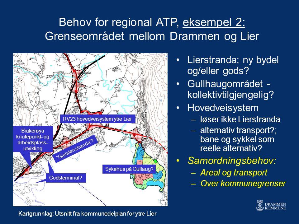 """Behov for regional ATP, eksempel 2: Grenseområdet mellom Drammen og Lier """"Gjelstenstranda""""? RV23 hovedveisystem ytre Lier Sykehus på Gullaug? Brakerøy"""