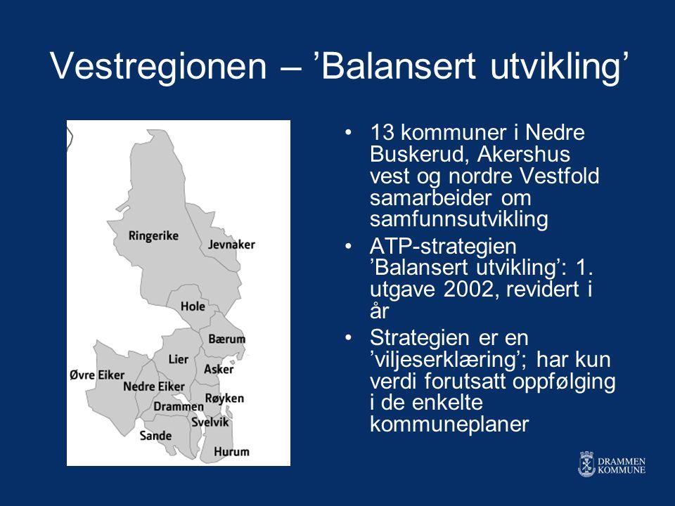 Vestregionen – 'Balansert utvikling' 13 kommuner i Nedre Buskerud, Akershus vest og nordre Vestfold samarbeider om samfunnsutvikling ATP-strategien 'B