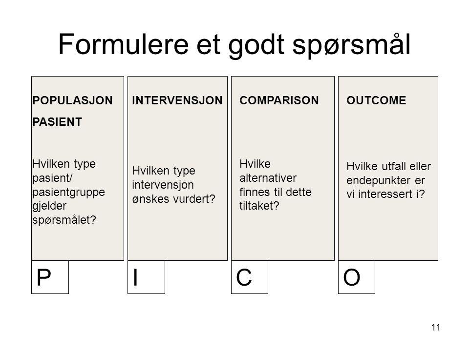 11 Formulere et godt spørsmål POPULASJON PASIENT Hvilken type pasient/ pasientgruppe gjelder spørsmålet.
