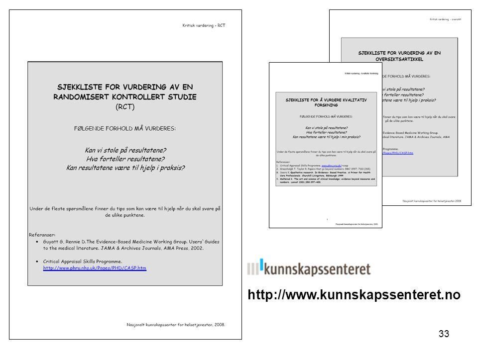 33 http://www.kunnskapssenteret.no