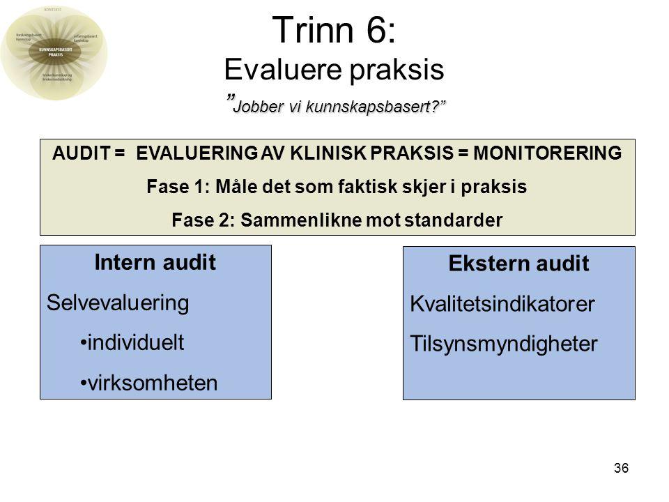 36 Jobber vi kunnskapsbasert? Trinn 6: Evaluere praksis Jobber vi kunnskapsbasert? Intern audit Selvevaluering individuelt virksomheten AUDIT = EVALUERING AV KLINISK PRAKSIS = MONITORERING Fase 1: Måle det som faktisk skjer i praksis Fase 2: Sammenlikne mot standarder Ekstern audit Kvalitetsindikatorer Tilsynsmyndigheter