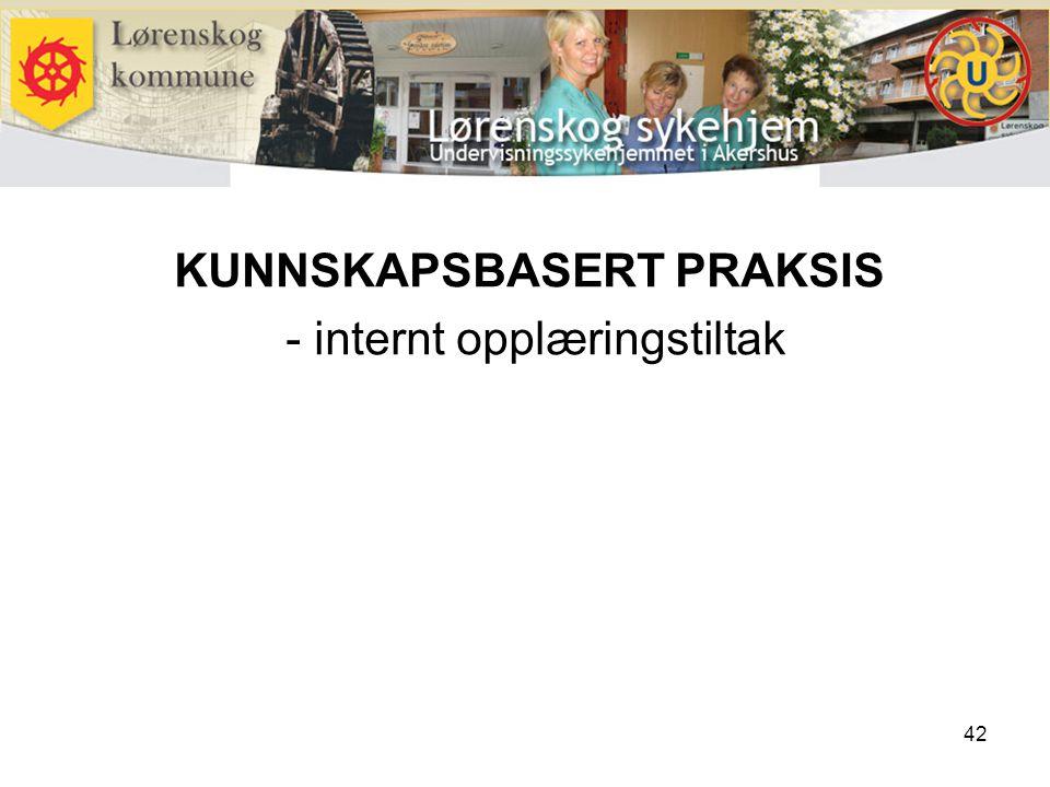 42 KUNNSKAPSBASERT PRAKSIS - internt opplæringstiltak